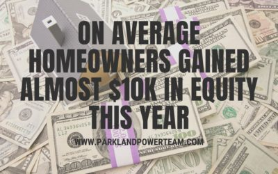 On Average Homeowners Gained Almost $10k in Equity this Year